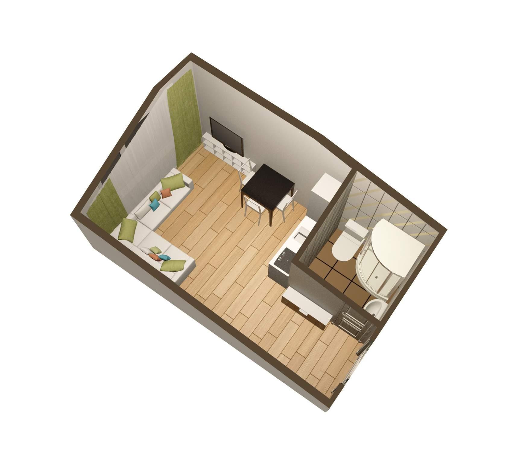 Фото дизайн комнаты 18 кв.м в однокомнатной