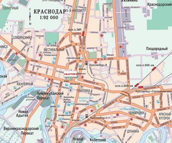 отели в центре краснодара на карте